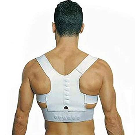 Facile da usare Trattamento a nastro a correzione variabile per uomini e donne Supporto per spalle e spalle Reggiseno per cintura Posture Corrector Corsetto magnetico di potenza (Colore : White) ShireyStore
