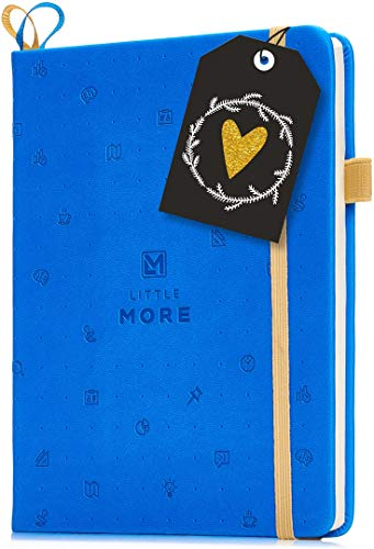 Little More Dot Grid Notebook 4 Colors -Dotted Notebook/Journal Hardcover with Thick Paper - Leather Pocket Bullet Planner (7-5,5) / Small Diary with Numbered Pages & Pen Loop + Stickers (Blue)