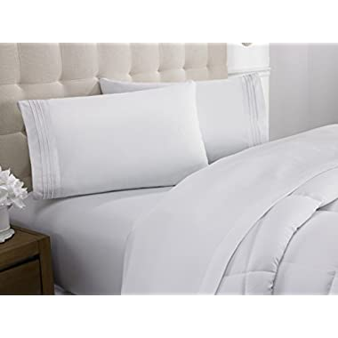 Hanna Kay Luxurious 1800 Deluxe Brushed Microfiber Queen Size Sheet Set - Hypoallergenic - 1800 Thread Count - 10-Year Warranty