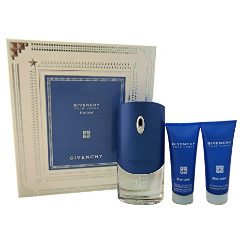 Givenchy Blue Label for Men (Eau De Toilette Spray, Hair and Body Shower Gel, Alcohol-Free After Shave Moisturizing Balm) Blue Label Moisturizing