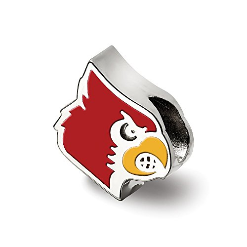 Sterling Silver LogoArt Official Licensed Collegiate University of Louisville (UofL) Cardinal Enameled Logo Bead by LogoArt