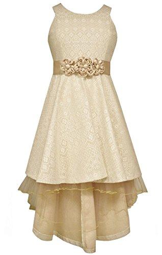 Bonnie Jean Big Girls' Bonded Lace Hi Low Dress, Ivory, 14