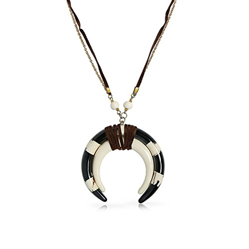 Buffalo Horn Tribal Crescent Moon Statement (Tribal Horn Necklace)