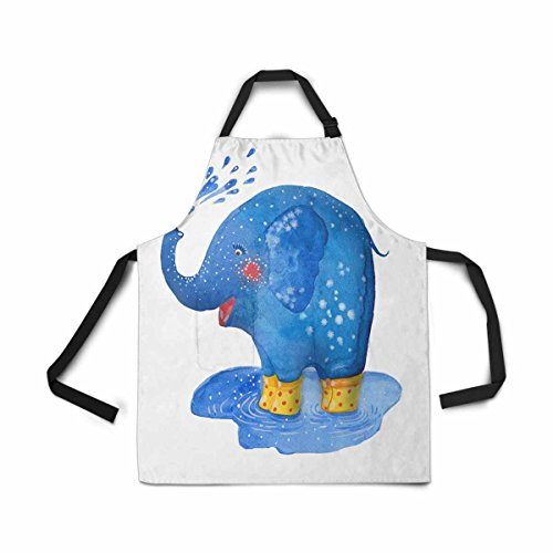 INTERESTPRINT Adjustable Bib Apron for Women Men Girls Chef with Pockets, Elephant Rubber Boot Watercolor Novelty Kitchen Apron for Cooking Baking Gardening Pet Grooming Cleaning