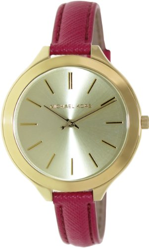 Michael Kors Mid-Size Runway Gold-Tone Dial Pink Leather Ladies Watch MK2298
