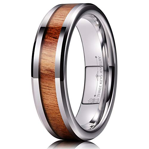 THREE KEYS JEWELRY 6mm Tungsten Wedding Ring with Koa Wood Inlay Silver Flat Wedding Band Engagement Ring Comfort Fit Size 7