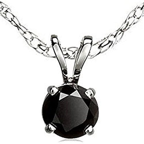 Dazzlingrock Collection 14K Round Cut Black Diamond Ladies Solitaire Pendant, White Gold