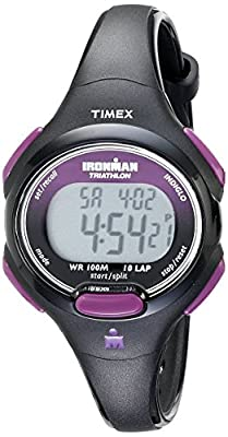 Timex Women's T5K523 Ironman Essential 10 Mid-Size Black/Purple Resin Strap Watch