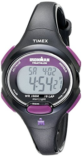 Basic Chronograph Watch - Timex Women's T5K523 Ironman Essential 10 Mid-Size Black/Purple Resin Strap Watch