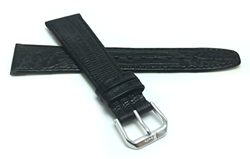 Blue Lizard Strap (18mm, Black Womens', Slim, Lizard Style, Genuine Leather Watch Band Strap, Also Comes in Brown, Tan and Blue)
