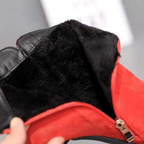 Black Boucle Talons Femmes Boots Hauts m Cheville Bottines Coolcept Pointu ax78H4cq
