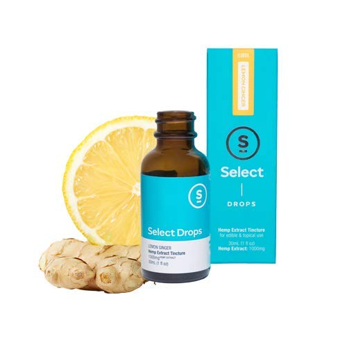 Select Drops - 1000mg Hemp Extract - 30ml (1 Fl Oz) - Revive Lemon Ginger - Tumeric, 1 fl. oz. by Select