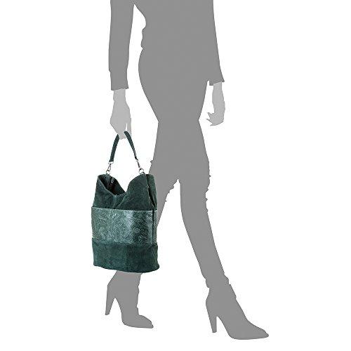 arabesQLYPcyoZoe Bolso genuino cm PELLE Verde Oscuro Bolso IN piel FIRENZE gamuza ARTEGIANI franja cuero ITALIANA NEGRO con Piel 32x30x20 de grabado piel auténtica VERA ITALY Color bag mujer grande shopping MADE 5gUwgqvF