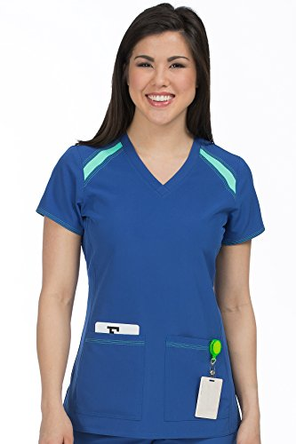Med Couture Women's 'Activate' V-Neck Color Block Scrub Top, Galaxy/Sea Crystal, Large (Sea Apparel Crystal)