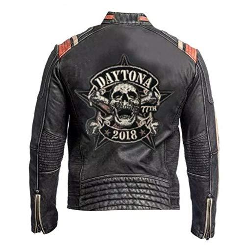 Mens Vintage Racer Daytona Leather Jacket Black Biker (Large)