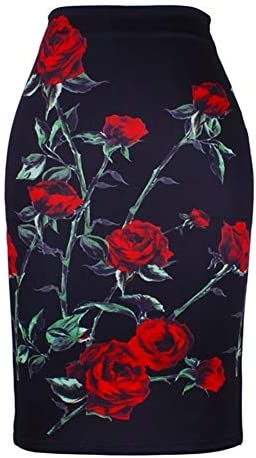 ERLIZHINIAN Fashion Flower Red Roses print women pencil skirts lady girls black bottoms S-4XL skirt wholesale (Color : WWP0037, Size : XL)