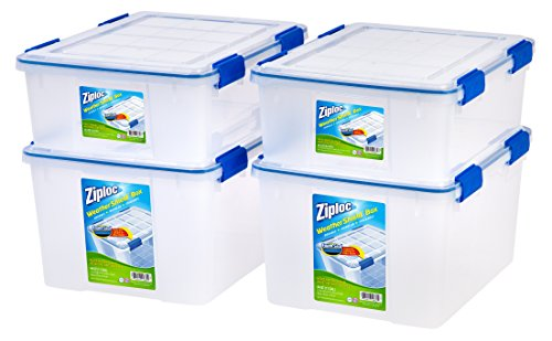 - Ziploc WeatherShield 26.5 and 44 Quart Storage Box, 4 Pack, Clear