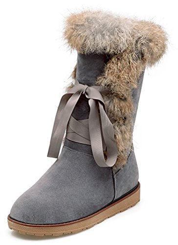 IDIFU Womens Warm Fluffy Fur Flat Fully Fleece Lined Lace Up Mid Calf Snow Boots Winter Booties Gray kuerh