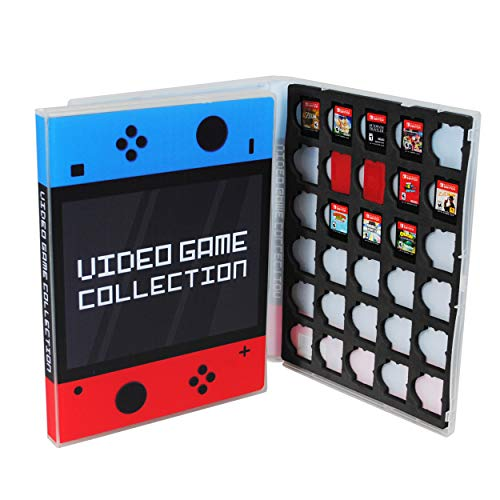 (Game Case for Nintendo Switch Cartridges - Holds 30 Games Securely in Foam (Blue/Red))