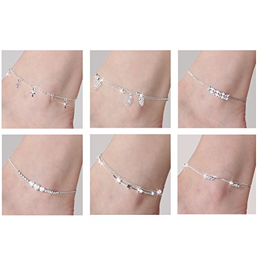 Anklet- 6PCS Anklets Ankle chains No fading foot chains for Female fashion jewelry Each Size 10.04