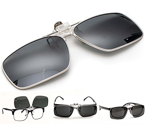 c432acdeb8 Metallic Rim Polarized Clip-on Driving Sunglasses with Flip Up Function