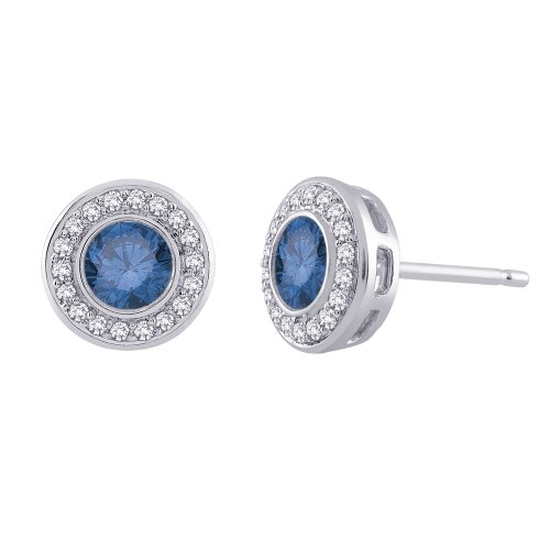 14K White Gold 1 ct. Blue and White Diamond Earrings
