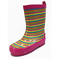 A.O.R. Toddler and Little Kids Girls Striped Pink Rain Boots w/Lining