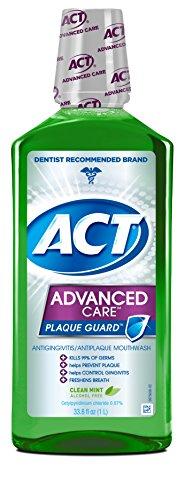 Act Mouthwash Advanced Care Plaque Guard, Clean Mint, 33.8 Ounce