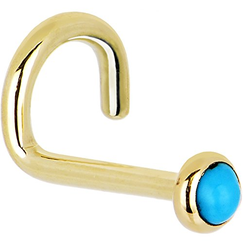 Body Candy Solid 14k Yellow Gold 2mm Turquoise Left Nose Stud Screw 18 Gauge 1/4