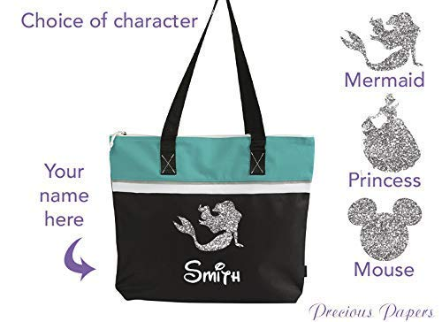 Personalized Mermaid, princess or Mouse head turquoise and black tote bag for a cruise or a trip to amusement park your name with choice of colors]()