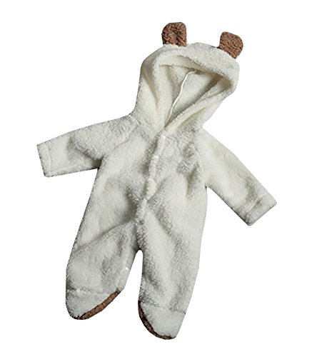 Taoliyuan Baby Girls Boys' Bear Style Jumpsuit Autumn Winter Hooded Romper Clothing White 90CM