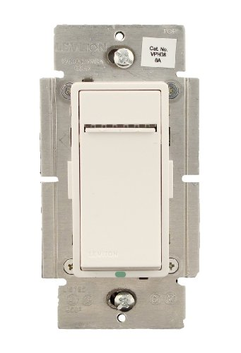 Leviton VPH08-1LZ, Vizia + Digital 8A Fluorescent Dimmer for Hi-lumeor Eco-10 Ballasts, Single Pole and 3-Way, White/Ivory/Light Almond