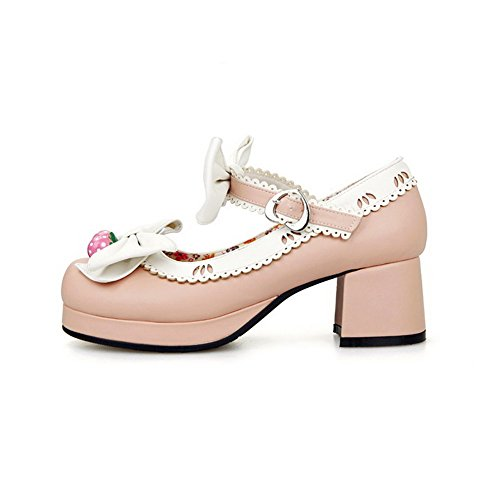 AgooLar Damen PU Gemischte Farbe Schnalle Quadratisch Zehe Pumps Schuhe Pink