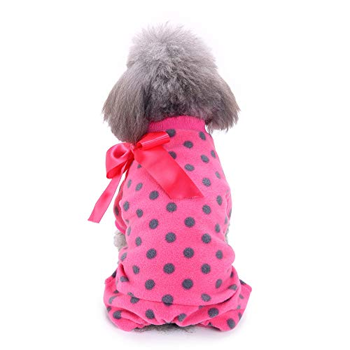 Twinsmall_Pet accessories Pet Dog Warm Clothes,Plush Pajamas Winter Warm Clothes for Puppy Doggy Apparel Clothing (S, Hot Pink)