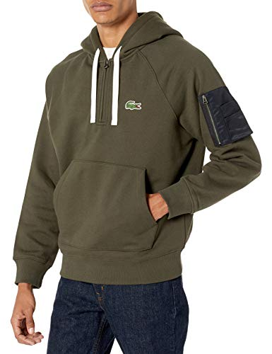 Lacoste Men's Long Sleeve 1/4 Zip Hooded Sweatshirt with Arm Pocket