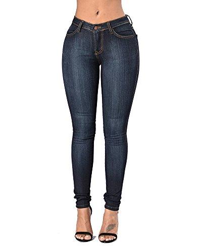 Leggings Jeans À Zhuikuna Donna Matita In Blu Pantaloni Skinny Marino Denim Vita Elastico Lunghi Alta xfwAqI