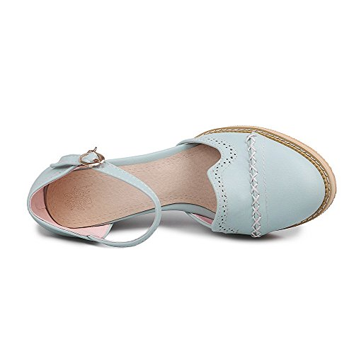 AllhqFashion Womens High-Heels Soft Material Solid Buckle Round Closed Toe Sandals Blue qCqZ4