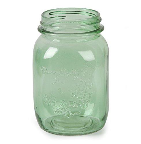 Darice 5200-81 Glass Mason JAR 16 Ounce Green Color, (Green Jar Glass)
