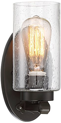 Holman 9 3/4'' High Seedy Glass and Bronze Wall Sconce by Franklin Iron Works