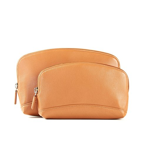 Cosmetic Bag Set - Full Grain Leather - Cognac (brown) by Leatherology
