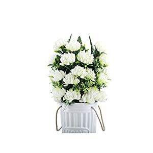 crystal004 4 Colors 52Cm 3Pcs 27 Heads Silk Gerbera Daisy Chrysanthemum Artificial Flowers for Cemetery Grave Wedding Home Party Decoration,White 24