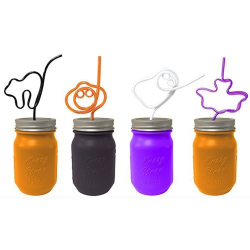 [Mason Jar with Halloween Shape Krazy Straw, 16 Ounce, 24 Count] (Cup Halloween Sipper)