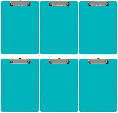Trade Quest Plastic Clipboard Opaque Color Letter Size Low Profile Clip (Pack of 6) (Turquoise)