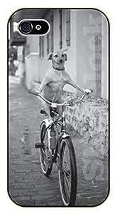 iPhone 5 / 5s Dog riding bike - black plastic case / dog, animals, dogs