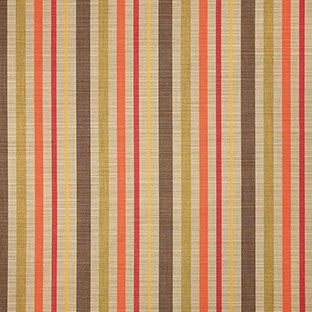 (Sunbrella Indoor / Outdoor Upholstery Fabric By the Yard ~ Solano Fiesta ~ Coral, Green, Tan, Yellow, Brown, Stripe)