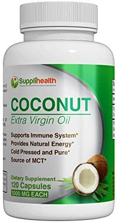 MCT Organic Coconut Oil Supplement Certified Pure Organic Extra Virgin 1000mg Cold Pressed and Unrefined Rich in Antioxidants Prevent Premature Aging Boost Energy All-Natural NON GMO Softgels