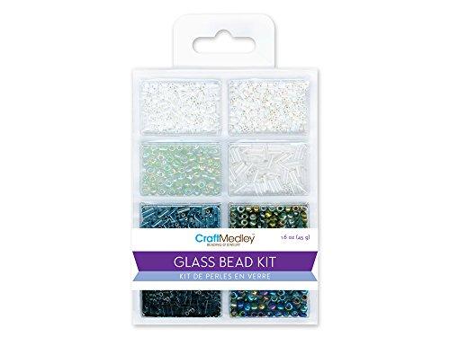 Bugle Glass Bead Kit - Glass Bead Kit, 45g, Rocailles/Seed/Bugles, Black & White Classic