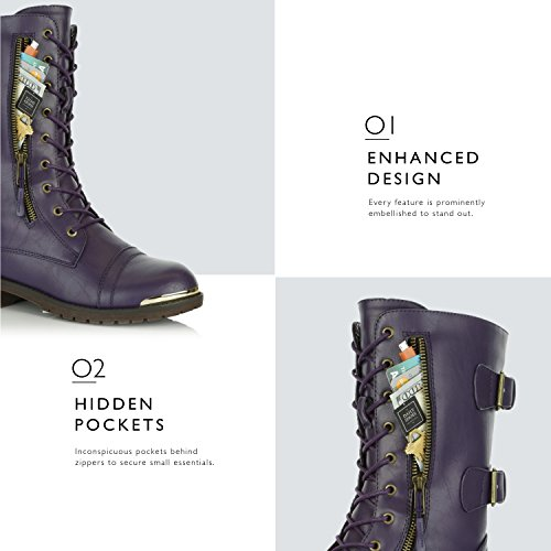 DailyShoes Metal Women's Shoes Purple Pocket High Buckle Front Combat Mid Bootie Military Exclusive Card Boots Knee Lace Up Credit FFxd46w