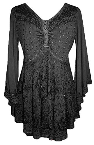 116 B Medieval Butterfly Embroidered Bell Sleeve Blouse [Black; 2X]