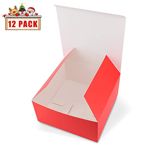 HAISEN Red Gift Boxes 12 Pack 8x8x4 inches, Paper Gift Boxes with Lids for Gifts, Crafting, Cupcake Boxes Bridesmaid Proposal - Gift Box Large Square